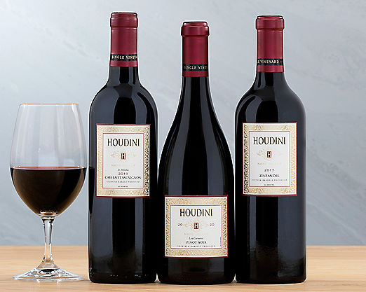 Houdini Napa Valley Red Wine Trio - STANDARD SHIPPING INCLUDED - Item No: 286
