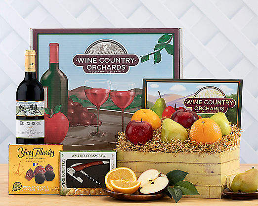 Cliffside Cabernet, Fruit and Truffle Collection Gift Basket - Item No: 362