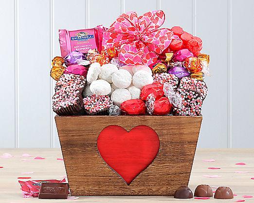 Valentine Cookie and Godiva Truffle Assortment Gift Basket - Item No: 589