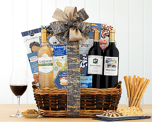 Wine and Gourmet Snack Assortment