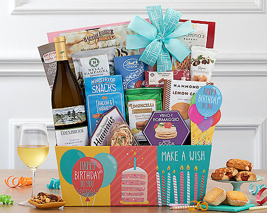 Vintners Path Chardonnay Birthday Collection Gift Basket At Wine Country Baskets