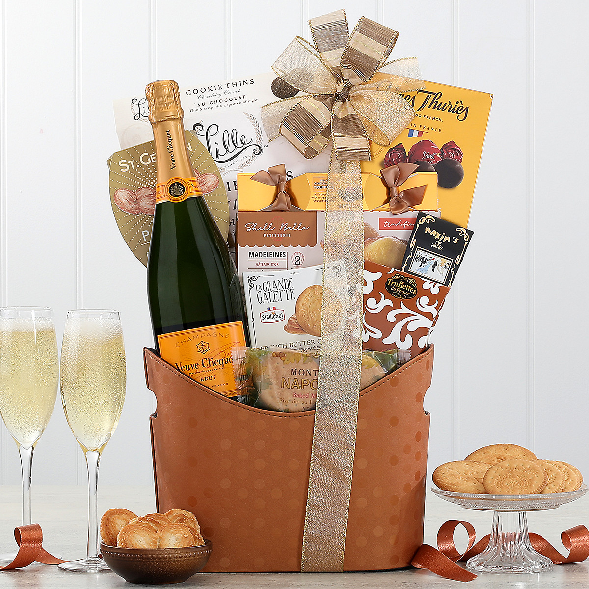 Buy chocolate gift baskets - Veuve Clicquot Champagne and Chocolate Gift Basket