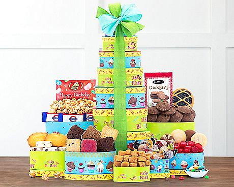 A True Birthday Classic The Best Wishes Tower Is Built To Put Smile On Anyones Face Before They Even Open Up This Delivery Find All Goodies