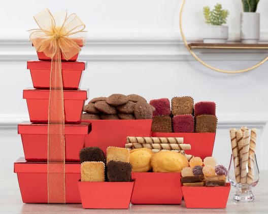 chocolate and cookie tower at wine country gift baskets