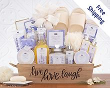 Lavender Vanilla Spa Experience Gift Basket  Free Shipping