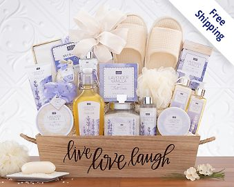 Lavender Vanilla Spa Experience Gift Basket  Free Shipping