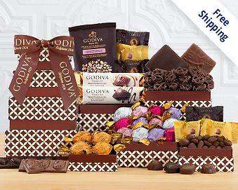 Godiva Milk, Dark and White Chocolate Tower Free Shipping