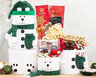 Snowman Tower Gift Basket