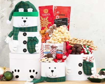 Snowman Tower Gift Basket Ship To Canada At Wine Country Gift