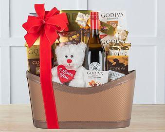 Godiva and Chardonnay Valentine Gift Basket