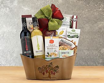 Wine O'Clock Somewhere Red and White Duet Gift Basket