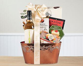 Thank You White Gift Basket