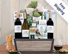 Cliffside Vineyards California Trio Wine Basket Gift Basket  Free Shipping