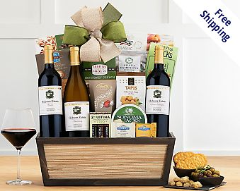 California Red and White Wine Trio Gift Basket Gift Basket  Free Shipping