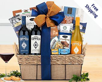 Francis Ford Coppola Diamond Collection Gift Basket  Free Shipping