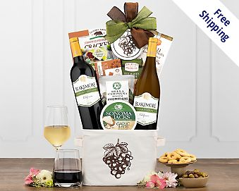 Blakemore Winery Red and White Wine Duet Gift Basket  Free Shipping