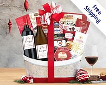 Vintners Path Holiday Selection Wine Basket Gift Basket  Free Shipping