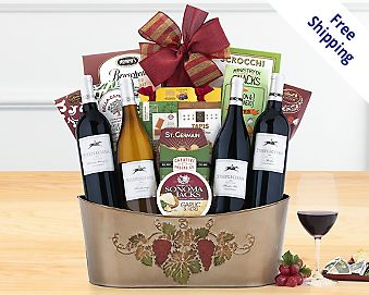 Barrel Hoops Quartet Wine Basket Gift Basket  Free Shipping