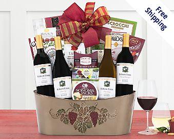 Cliffside Vineyards Quartet Wine Basket Gift Basket  Free Shipping