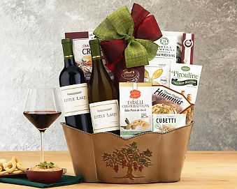 Little Lakes Cellars Double Delight Wine Basket Gift Basket