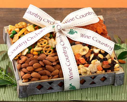 wine country orchards mixed nut gift tray gift basket at wine