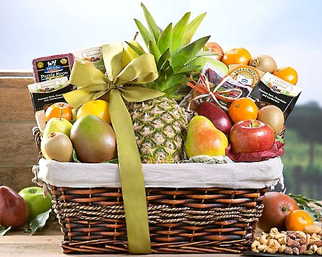 Paradise Tropical Fruit Nut And Cheese Collection Gift Baskets
